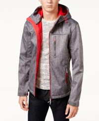 Superdry Men's Windtrekker Hooded Full Zip Jacket Dark Grey Grit Rebel Red