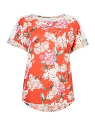 Oui Floral And Lace T Shirt Red