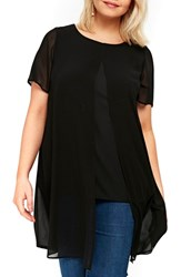 Evans Plus Size Split Front Top Black