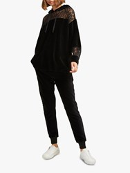 French Connection Ruthie Velvet Joggers Black