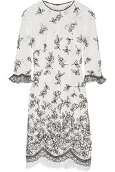 Oscar De La Renta Embroidered Appliqued Lace Dress Ivory