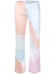 Collina Strada Abstract Print Cropped Trousers Brown