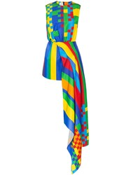 Halpern Pixel Print Asymmetric Dress Multicoloured