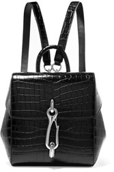 Alexander Wang Hook Mini Croc Effect Leather Backpack Black