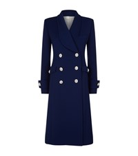 Alessandra Rich Crystal Button Double Breasted Coat Blue