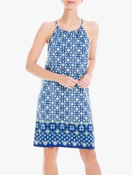 Max Studio Tile Print Dress Navy Yellow
