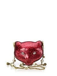 Gucci Broadway Kitty Glittered Acrylic Clutch Orchidea