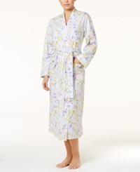 Charter Club Lace Trimmed Printed Knit Long Robe Only At Macy's Botanical Floral