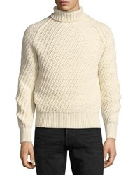 Tom Ford Cashmere Wool Basketweave Turtleneck Sweater Ivory