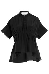 Victoria Victoria Beckham Gathered Silk Blouse Black