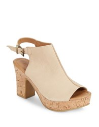 Kenneth Cole Reaction Tole Tally Nubuck Stacked Heel Sandals Stone