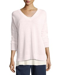 Eileen Fisher Linen Knit V Neck Top Opal