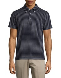 Brooks Brothers Striped Cotton Polo Navy