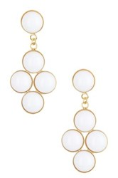 Yochi Design Quad White Drop Earrings