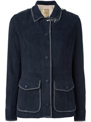 Fay Stitched Detail Jacket Blue