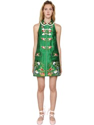 Vivetta Embroidered Silk Shantung Mini Dress