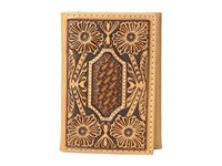 Ariat Floral And Basket Weave Embossed Trifold Wallet Tan Wallet Handbags