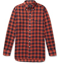 Drakes Drake's Slim Fit Button Down Collar Checked Cotton And Linen Blend Shirt Red
