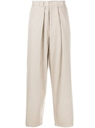 J.W.Anderson Jw Anderson Wide Leg Tapered Trousers Neutrals