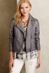 Hei Hei Perfed Vegan Leather Moto Jacket Grey
