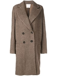 Tibi Double Breasted Coat Brown