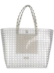 Red Valentino V Stud Embellished Tote Bag White