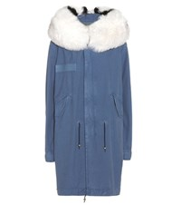 Mr And Mrs Italy Fur Trimmed Cotton Parka Blue