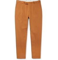 Sandro Cropped Pleated Cotton Gabardine Trousers Yellow