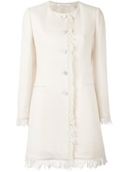Tagliatore Frayed Edge Buttoned Jacket Nude Neutrals