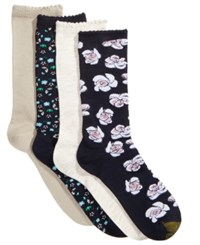 Gold Toe Women's 4 Pk. Painted Floral Socks Midnight Painted Grey Heather Oatmeal Heather Midn