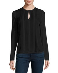 Elie Tahari Sima Long Sleeve Pintucked Silk Combo Blouse Black