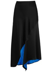 Dkny Black Reversible Satin Skirt Blue