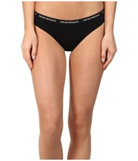Emporio Armani Cotton Delight Stretch Cotton With New Logo Thong Black Women's Underwear