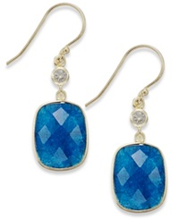 Studio Silver Blue Aventurine 12 1 2 Ct. T.W. And Cubic Zircornia Drop Earrings In 18K Gold Over Sterling Silver