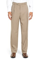 Men's Big And Tall Ballin Pleated Solid Wool Trousers British Tan