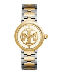 Tory Burch Reva Stainless Steel Strap Watch Yellow Gold Silver