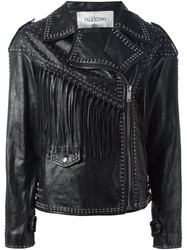 Valentino Studded Biker Jacket Black