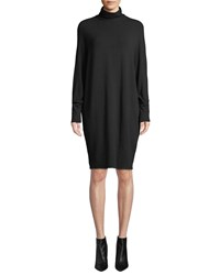 Majestic Long Sleeve Cowl Neck French Terry Shift Dress Black