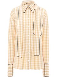 J.W.Anderson Jw Anderson Scarf Collar Gingham Shirt Brown