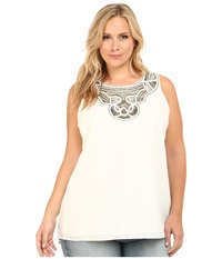 Vince Camuto Plus Plus Size Serengeti Sleeveless High Low Hem Blouse W Neck Embellishment New Ivory Women's Blouse Bone