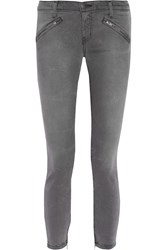 Current Elliott The Silverlake Zip Mid Rise Skinny Jeans Gray