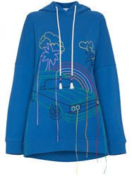 Mira Mikati Oversized Embroidered Cotton Hoodie Blue