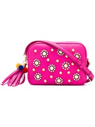 Dolce And Gabbana Faux Pearl Embellished Crossbody Bag Women Cotton Calf Leather Metal One Size Pink Purple