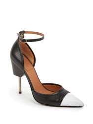 Givenchy Phara Cutout Side Two Tone Leather Pumps Black White