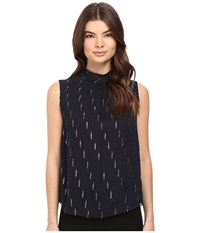 Rebecca Taylor Metallic Mock Neck Top Navy Women's Sleeveless