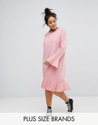 Pink Clove Shift Dress With Frill Detail Pink