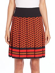 Michael Kors Cube Print Silk Pleated Skirt Coral