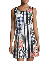 Neiman Marcus Floral Print Sleeveless Fit And Flare Skirt Multicolor