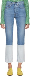 Ports 1961 Blue And White Contrast Bottom Jeans