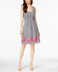 Nine West Embroidered Gingham Dress Created For Macy's Black White